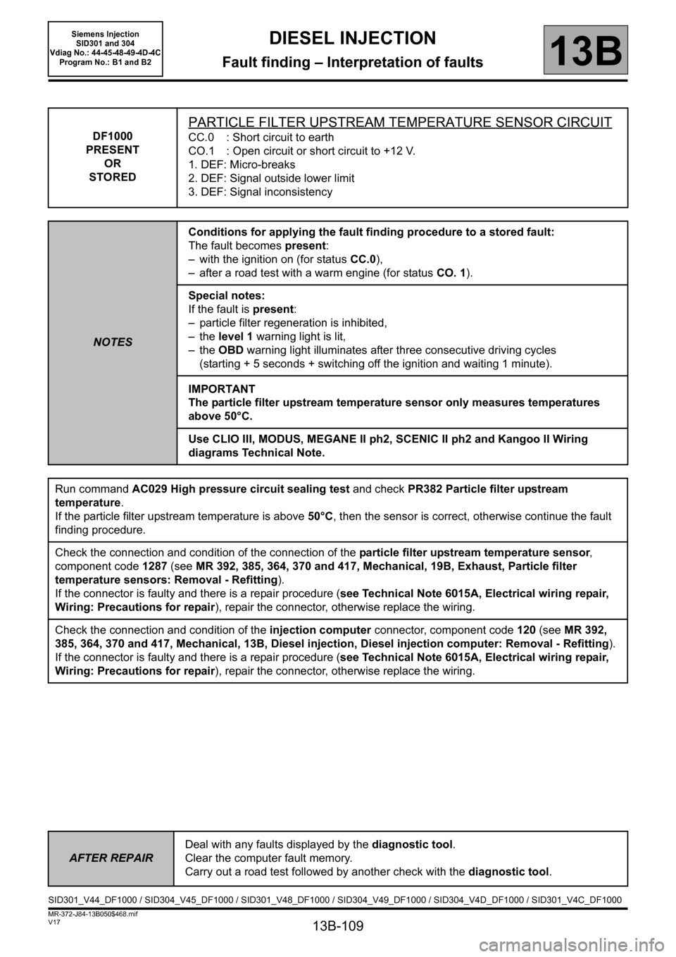 RENAULT SCENIC 2011 J95 / 3.G Engine And Peripherals Siemens Injection Workshop Manual, Page 109