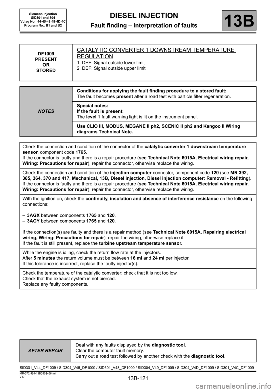 RENAULT SCENIC 2011 J95 / 3.G Engine And Peripherals Siemens Injection Workshop Manual, Page 121