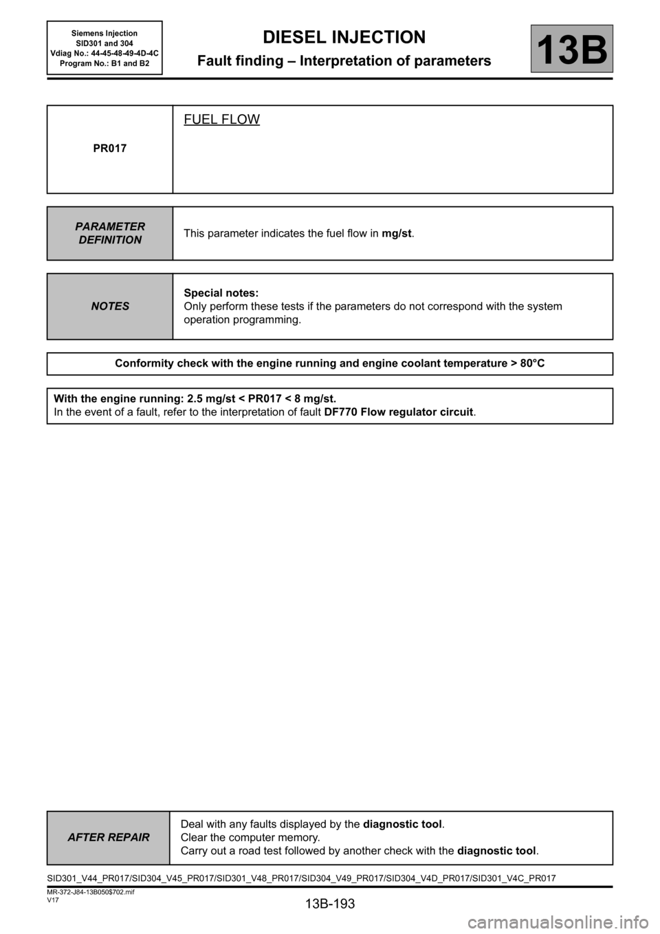 RENAULT SCENIC 2011 J95 / 3.G Engine And Peripherals Siemens Injection Workshop Manual, Page 193