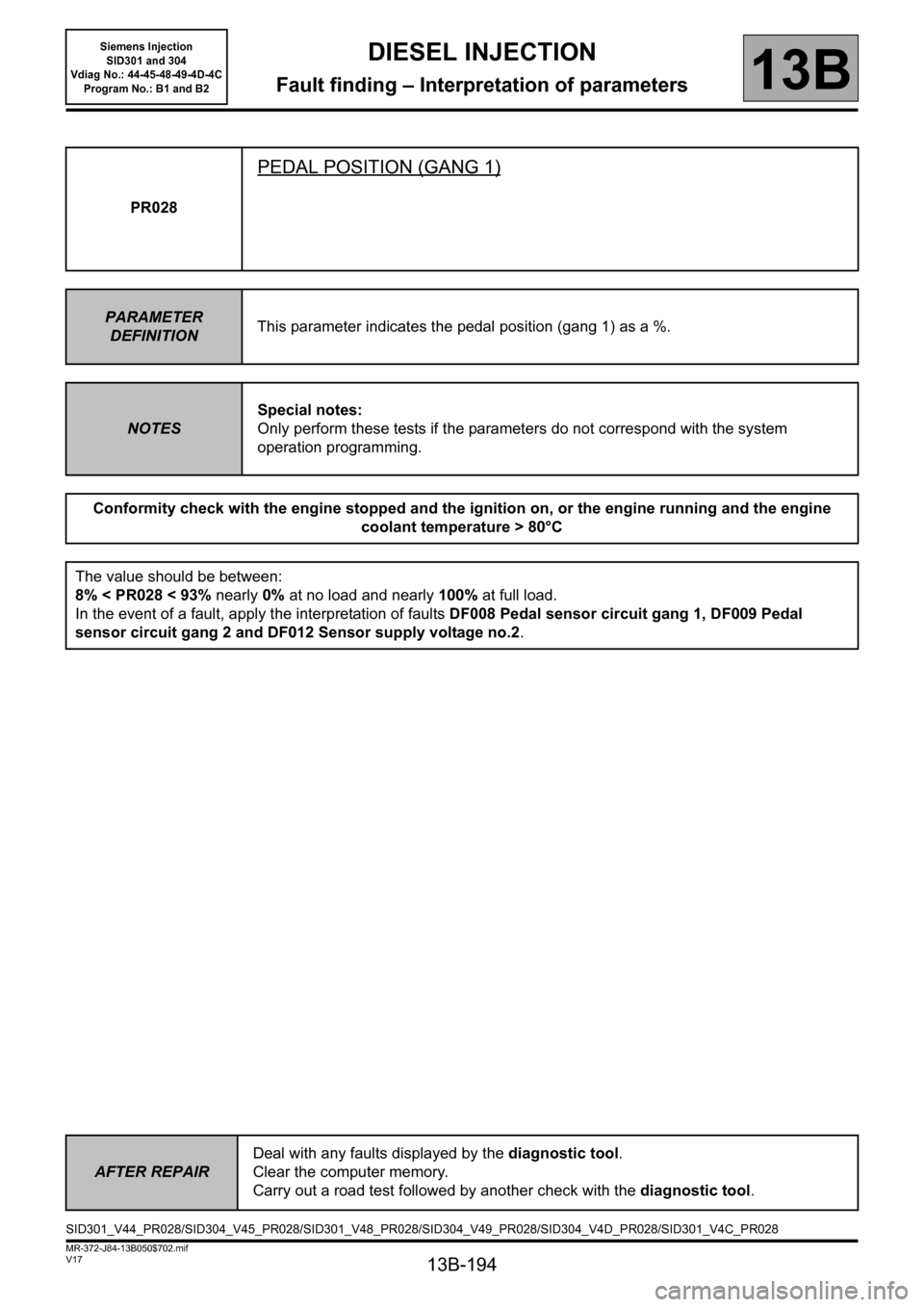 RENAULT SCENIC 2011 J95 / 3.G Engine And Peripherals Siemens Injection Workshop Manual, Page 194