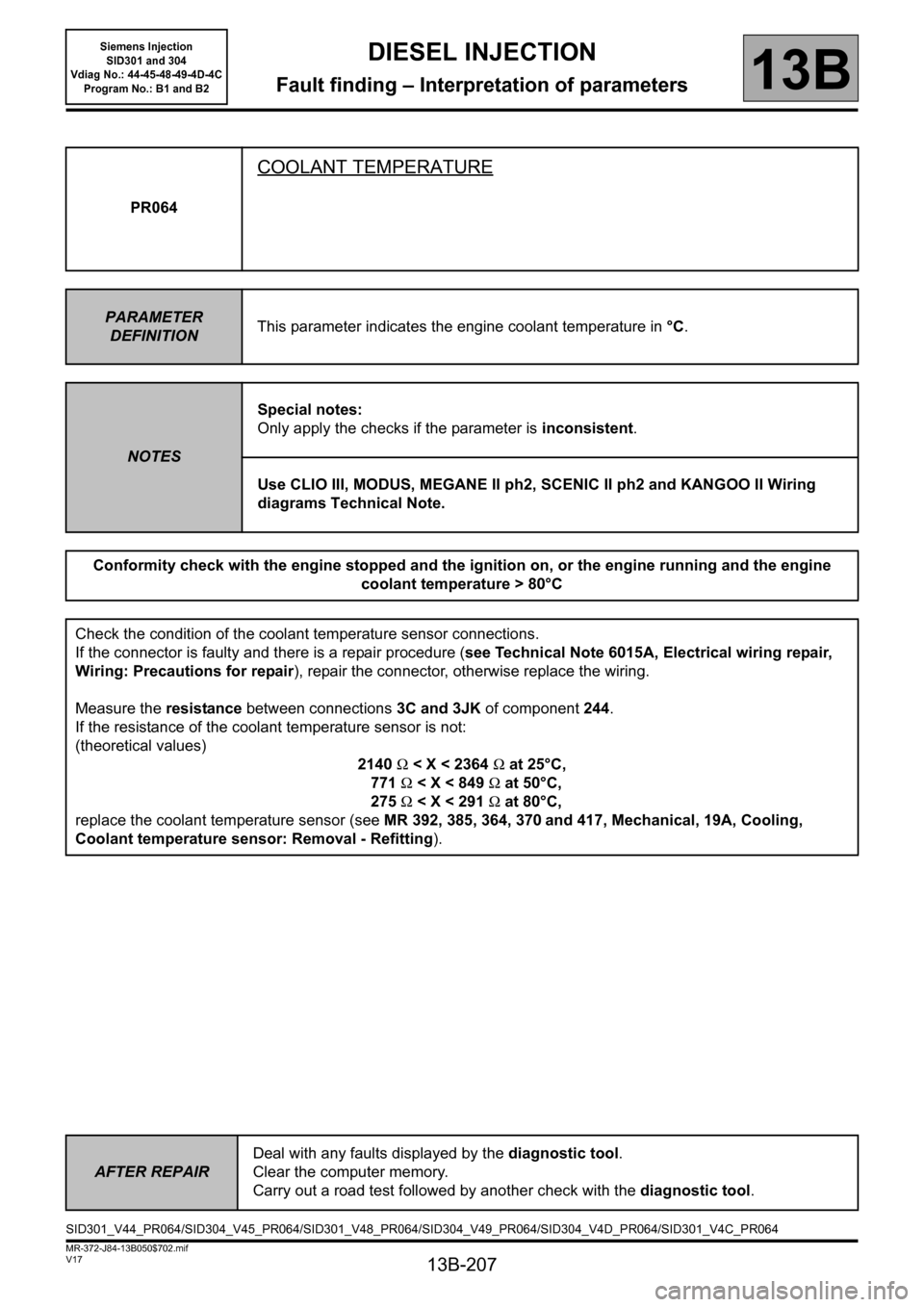 RENAULT SCENIC 2011 J95 / 3.G Engine And Peripherals Siemens Injection Workshop Manual, Page 207
