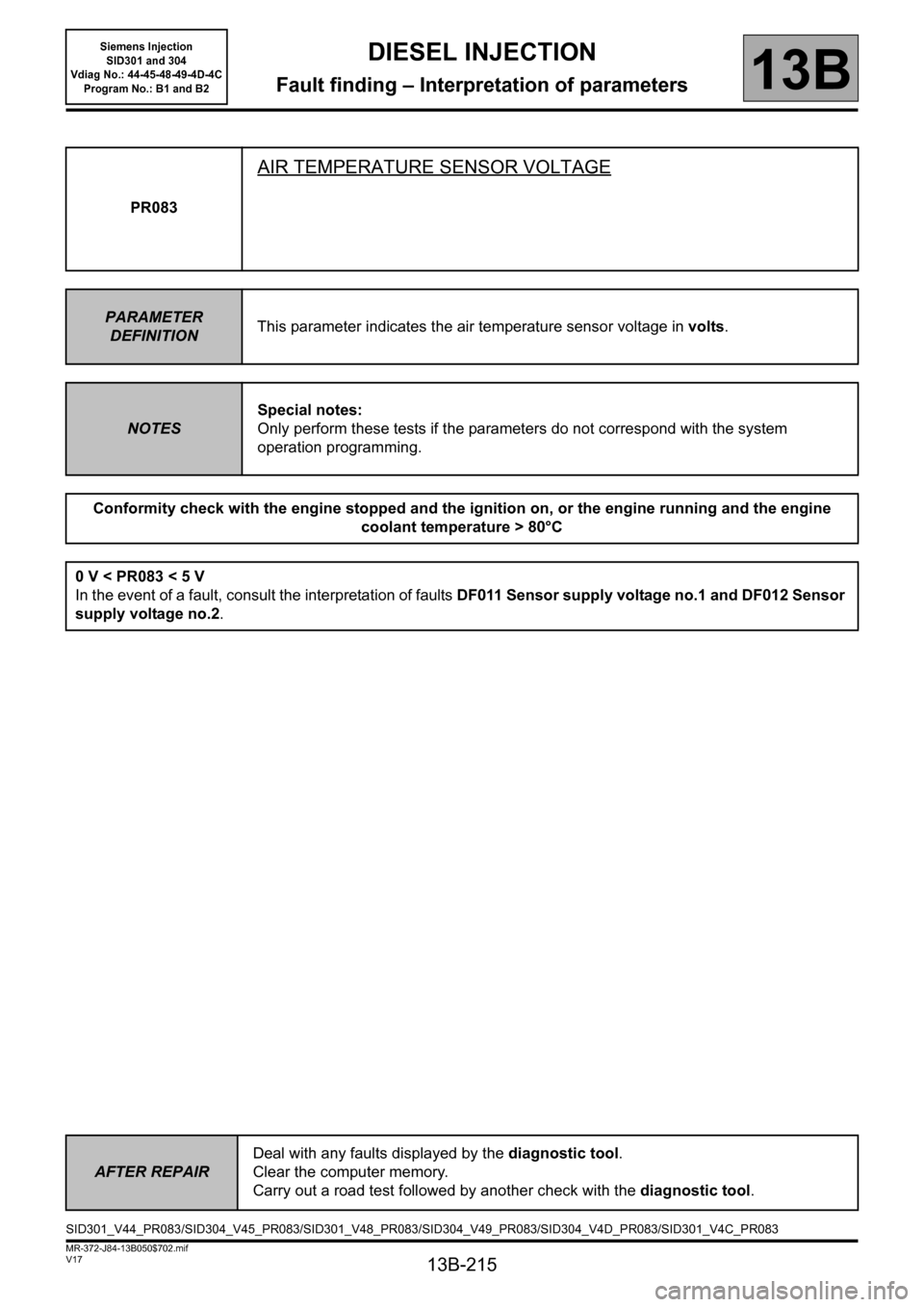 RENAULT SCENIC 2011 J95 / 3.G Engine And Peripherals Siemens Injection Workshop Manual, Page 215