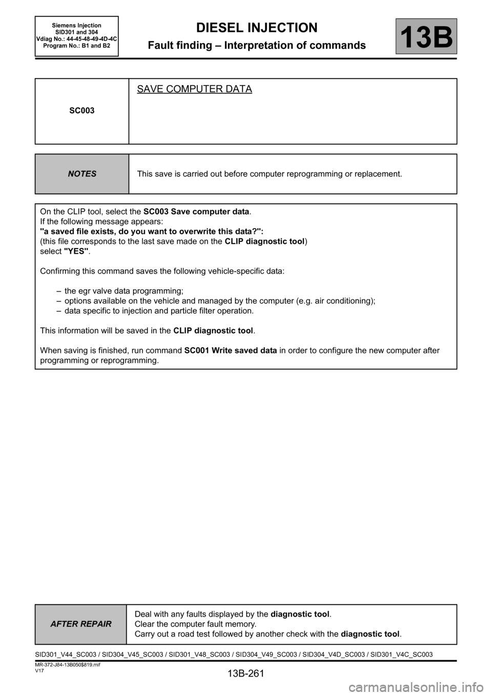 RENAULT SCENIC 2011 J95 / 3.G Engine And Peripherals Siemens Injection Workshop Manual, Page 261