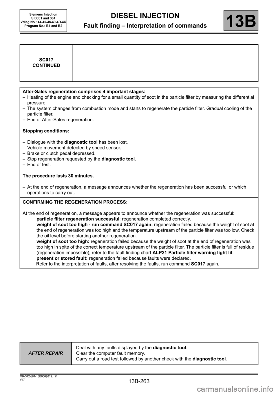 RENAULT SCENIC 2011 J95 / 3.G Engine And Peripherals Siemens Injection Workshop Manual, Page 263