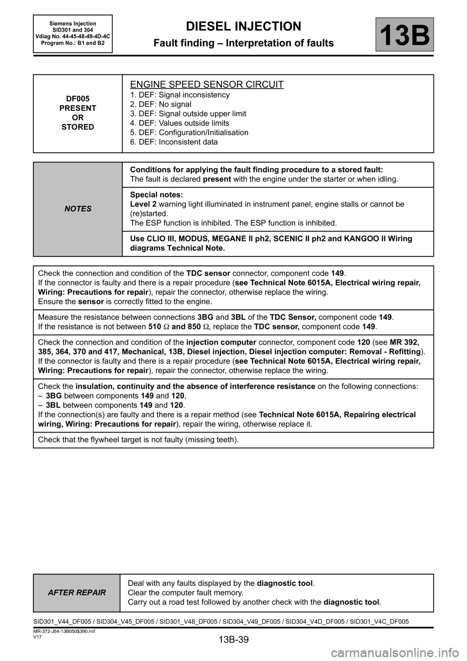 RENAULT SCENIC 2011 J95 / 3.G Engine And Peripherals Siemens Injection Workshop Manual, Page 39
