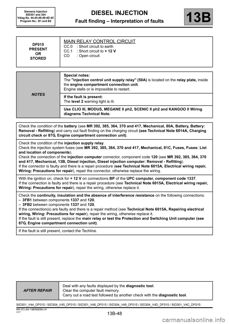 RENAULT SCENIC 2011 J95 / 3.G Engine And Peripherals Siemens Injection Workshop Manual, Page 48