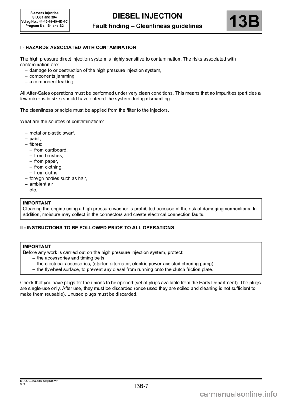 RENAULT SCENIC 2011 J95 / 3.G Engine And Peripherals Siemens Injection Workshop Manual, Page 7