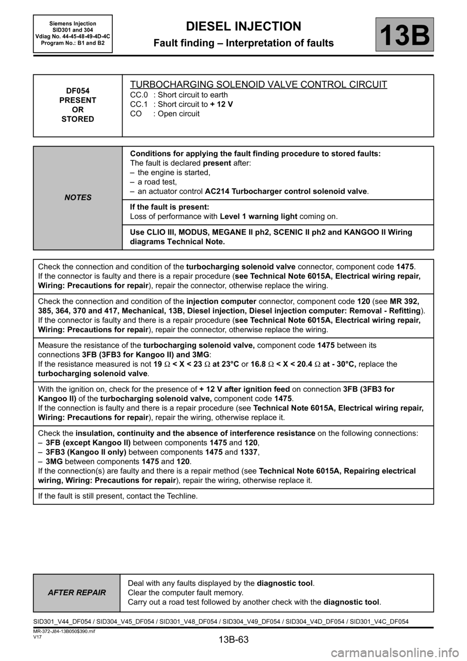 RENAULT SCENIC 2011 J95 / 3.G Engine And Peripherals Siemens Injection Workshop Manual, Page 63