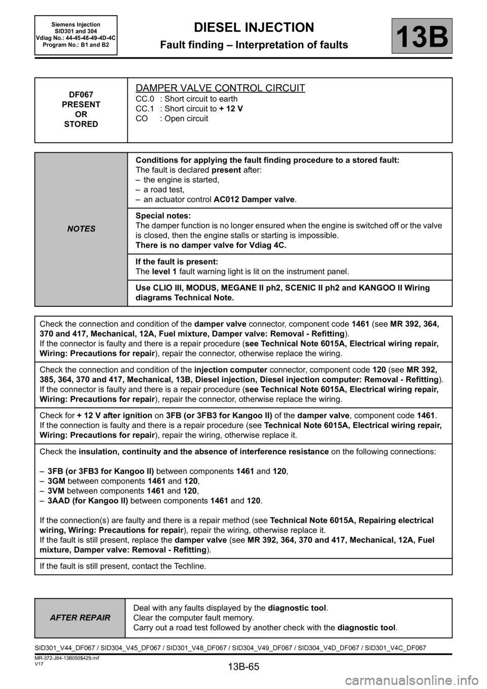 RENAULT SCENIC 2011 J95 / 3.G Engine And Peripherals Siemens Injection Workshop Manual, Page 65