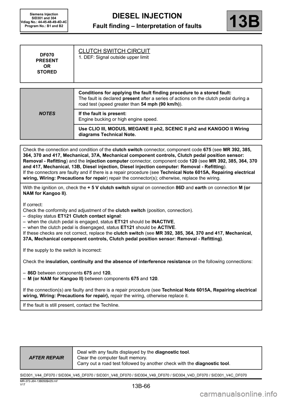 RENAULT SCENIC 2011 J95 / 3.G Engine And Peripherals Siemens Injection Workshop Manual, Page 66
