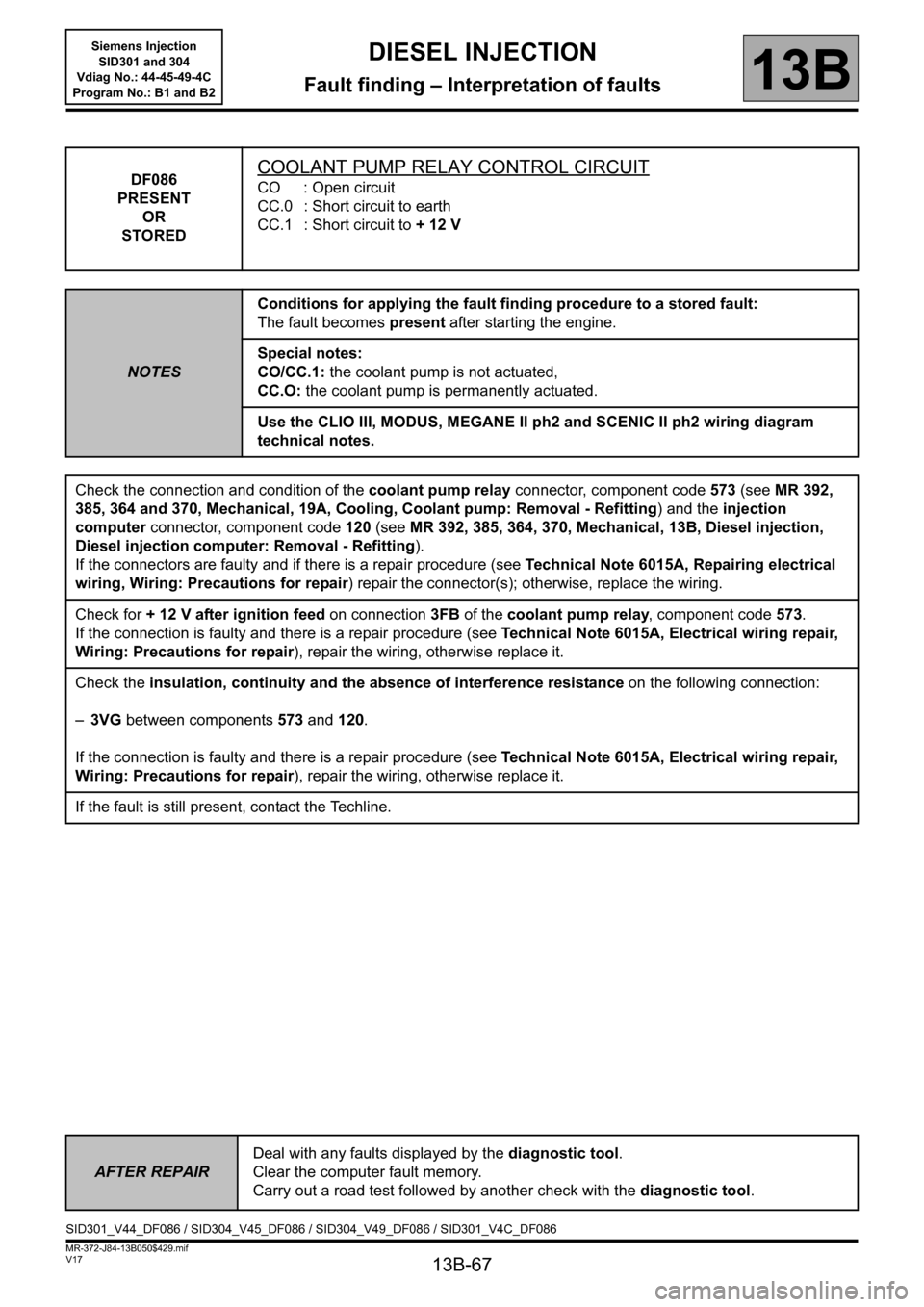 RENAULT SCENIC 2011 J95 / 3.G Engine And Peripherals Siemens Injection Workshop Manual, Page 67