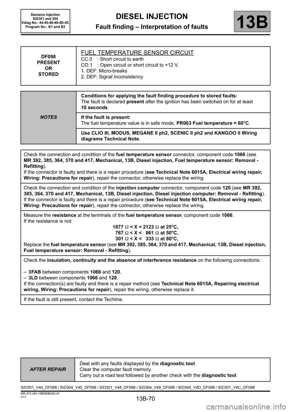 RENAULT SCENIC 2011 J95 / 3.G Engine And Peripherals Siemens Injection Workshop Manual, Page 70