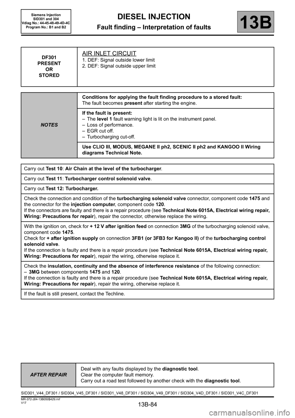 RENAULT SCENIC 2011 J95 / 3.G Engine And Peripherals Siemens Injection Workshop Manual, Page 84