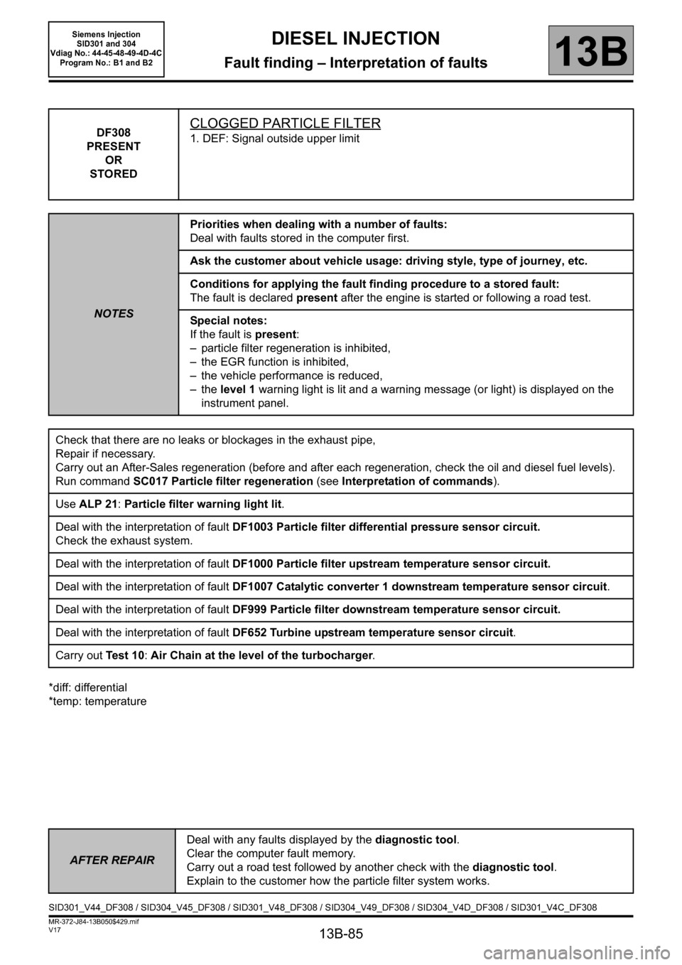 RENAULT SCENIC 2011 J95 / 3.G Engine And Peripherals Siemens Injection Workshop Manual, Page 85