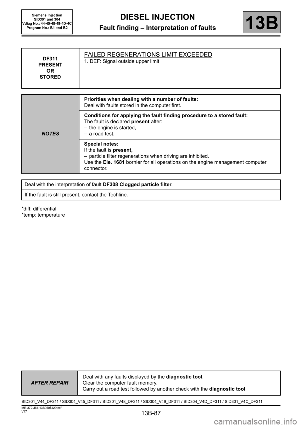RENAULT SCENIC 2011 J95 / 3.G Engine And Peripherals Siemens Injection Workshop Manual, Page 87