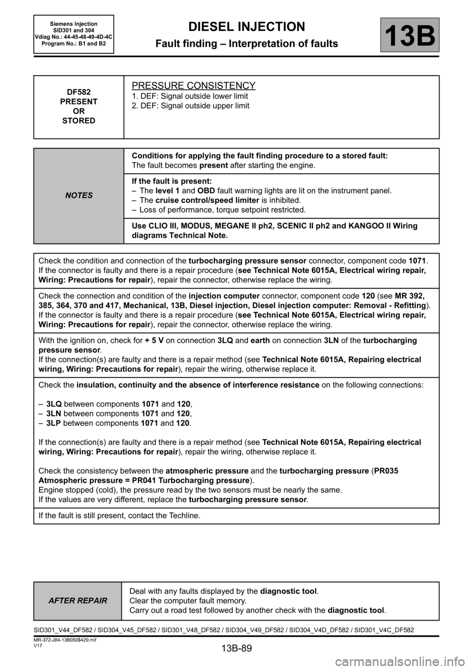 RENAULT SCENIC 2011 J95 / 3.G Engine And Peripherals Siemens Injection Workshop Manual, Page 89