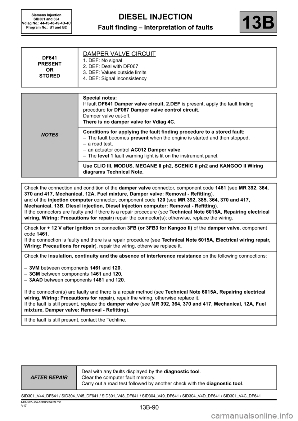 RENAULT SCENIC 2011 J95 / 3.G Engine And Peripherals Siemens Injection Workshop Manual, Page 90