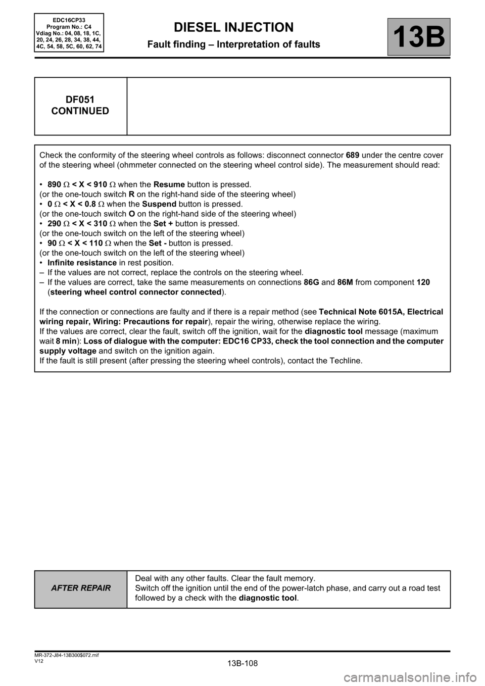 RENAULT SCENIC 2012 J95 / 3.G Engine And Peripherals EDC16CP33 Workshop Manual, Page 108