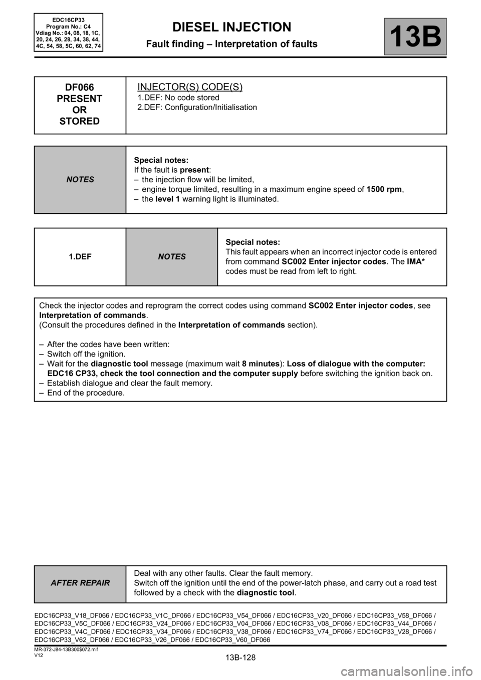 RENAULT SCENIC 2012 J95 / 3.G Engine And Peripherals EDC16CP33 Workshop Manual, Page 128