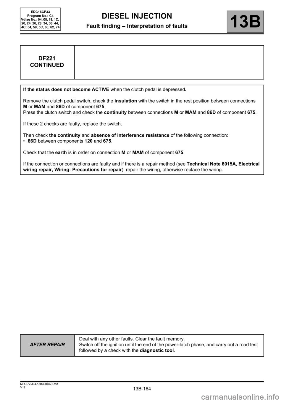 RENAULT SCENIC 2012 J95 / 3.G Engine And Peripherals EDC16CP33 Workshop Manual, Page 164