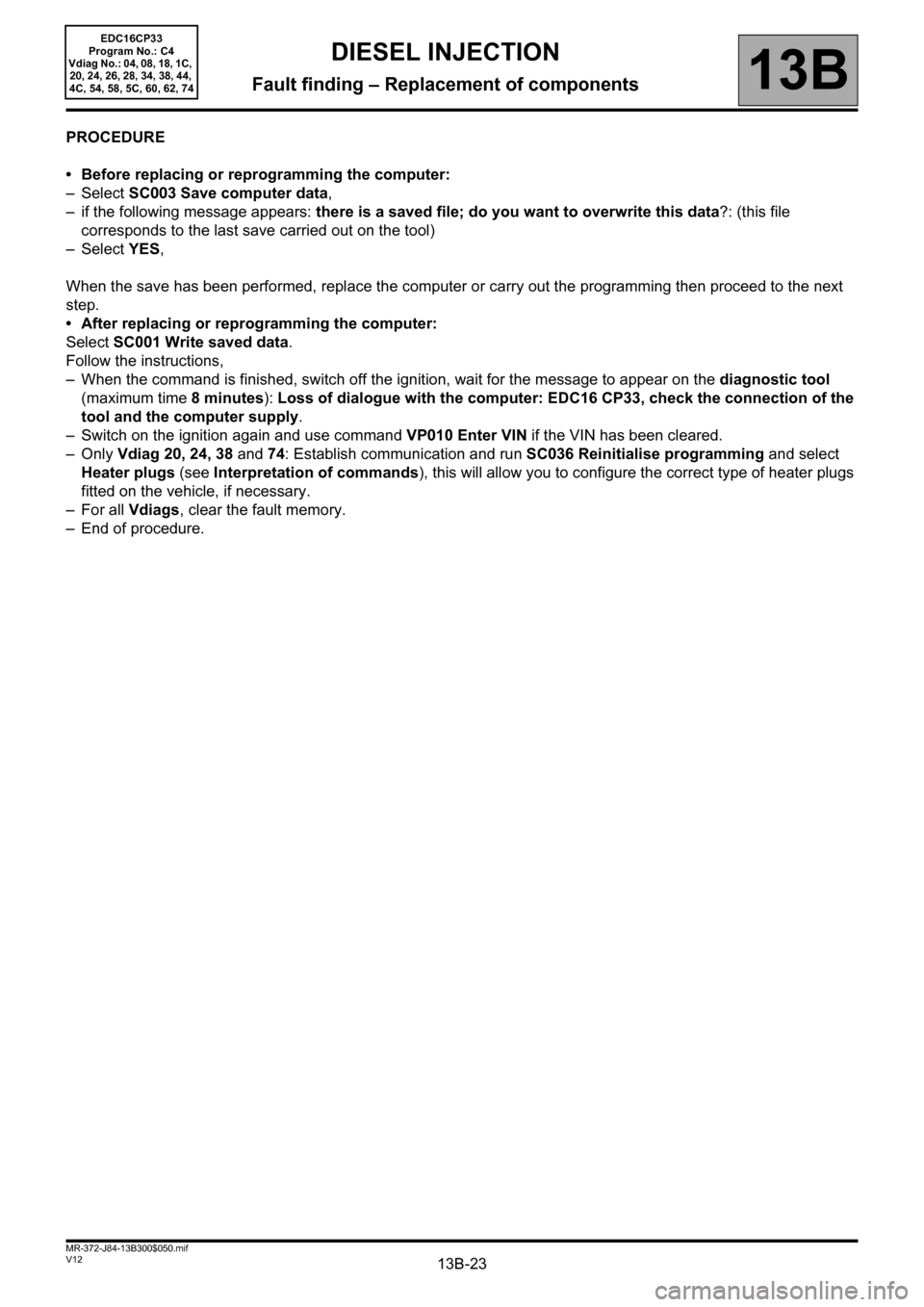 RENAULT SCENIC 2012 J95 / 3.G Engine And Peripherals EDC16CP33 Workshop Manual, Page 23