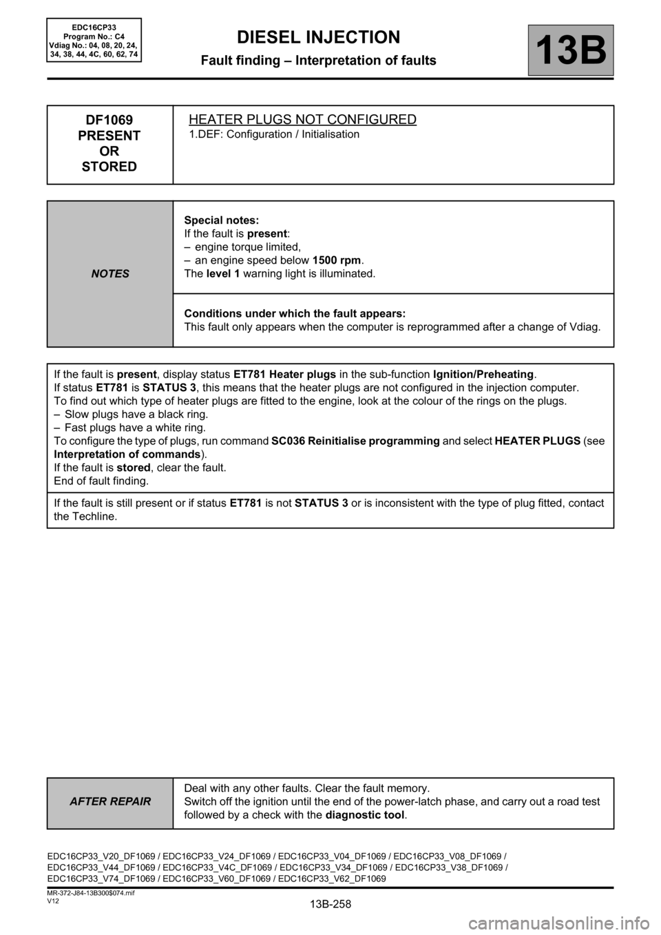RENAULT SCENIC 2012 J95 / 3.G Engine And Peripherals EDC16CP33 Workshop Manual, Page 258