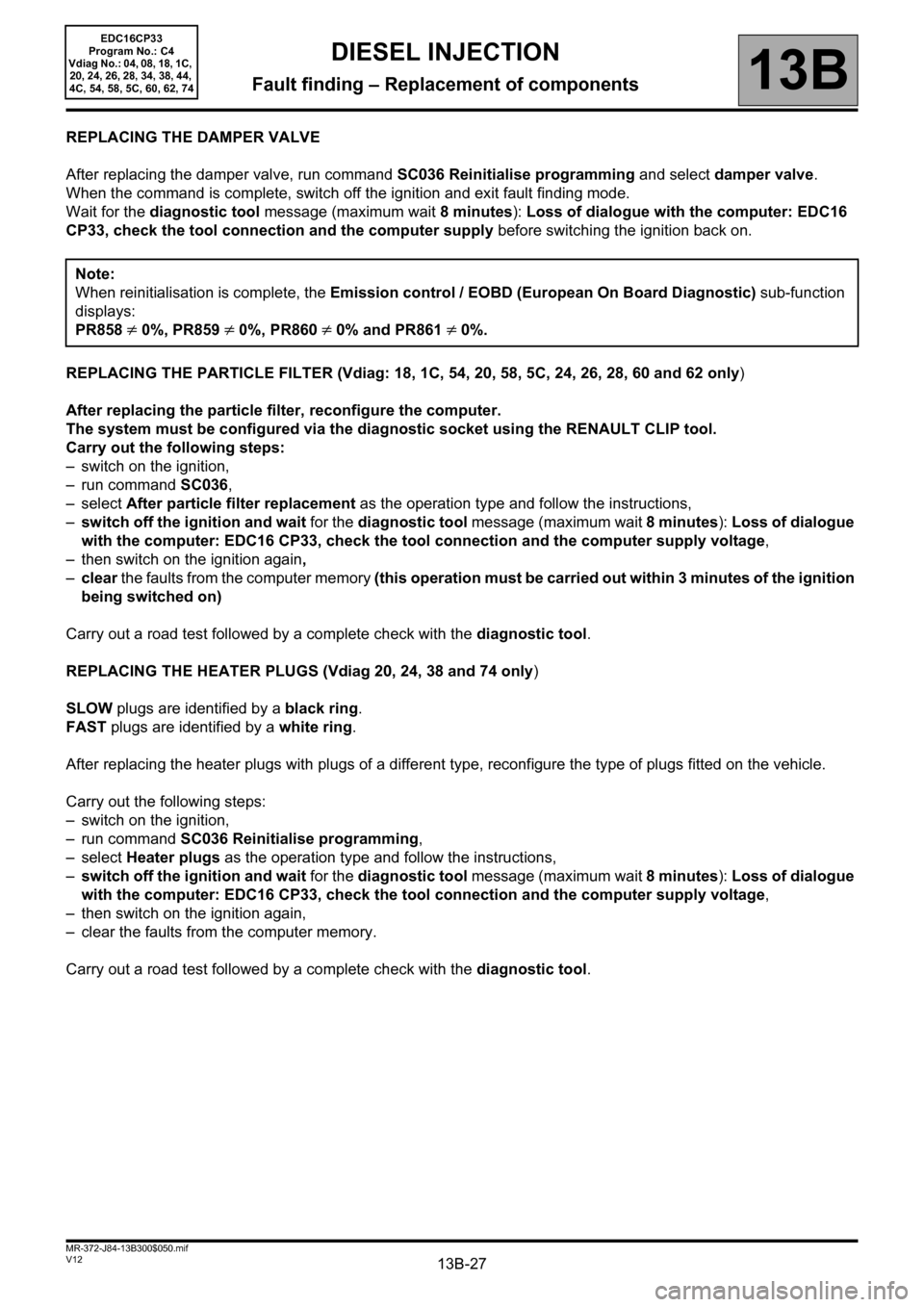 RENAULT SCENIC 2012 J95 / 3.G Engine And Peripherals EDC16CP33 Workshop Manual, Page 27