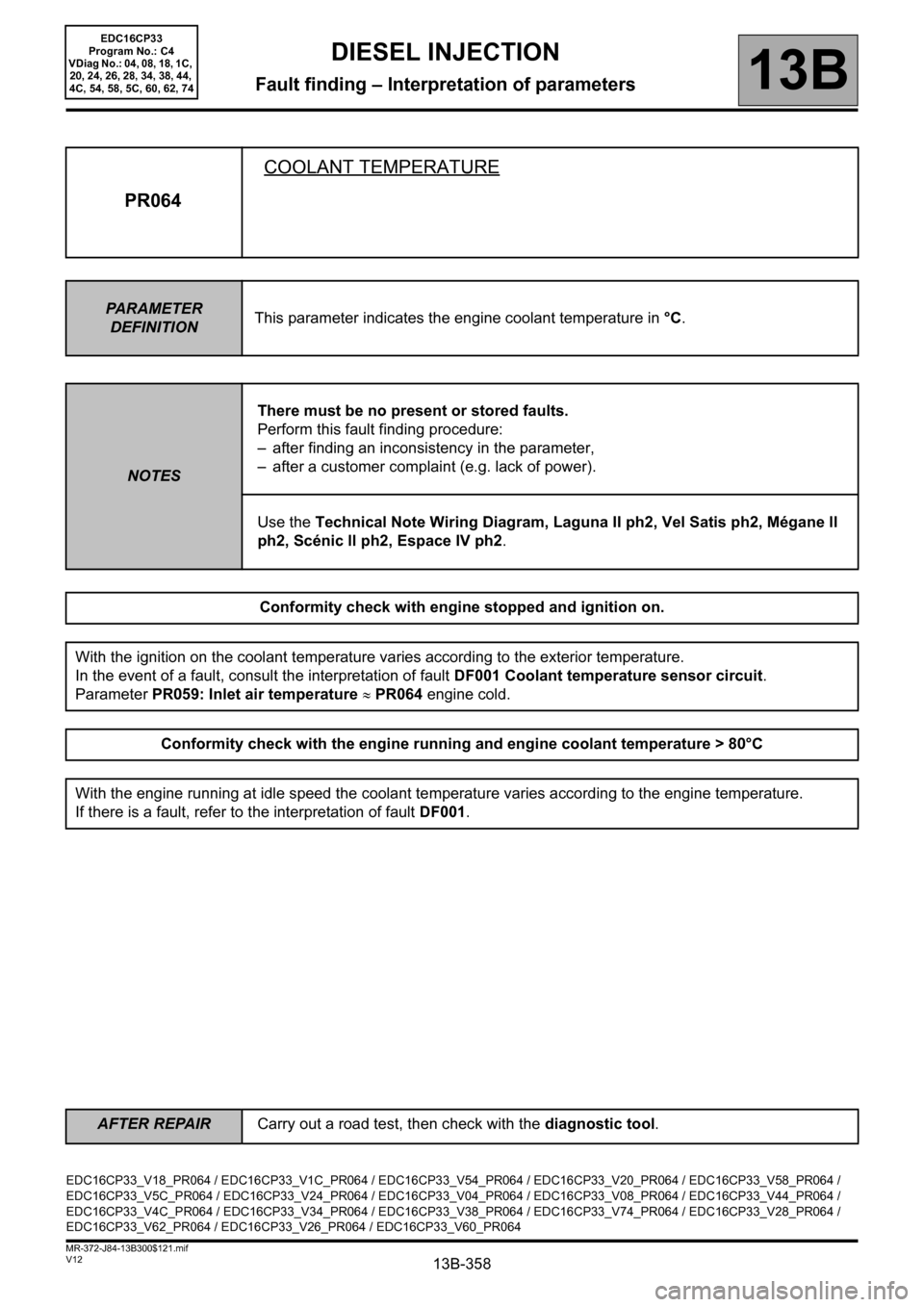 RENAULT SCENIC 2012 J95 / 3.G Engine And Peripherals EDC16CP33 Workshop Manual, Page 358