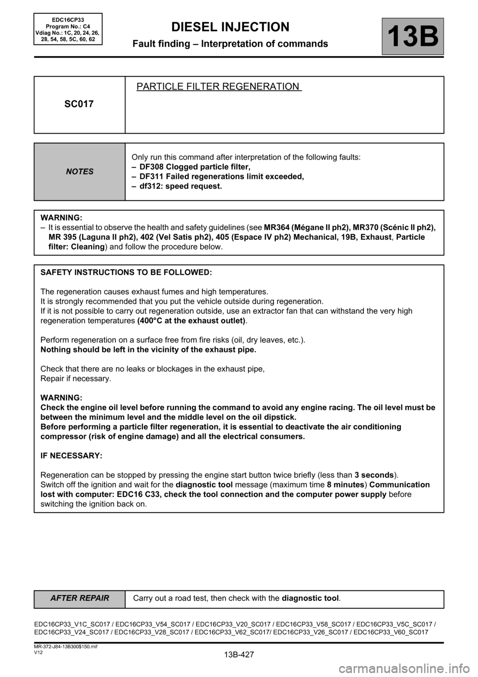 RENAULT SCENIC 2012 J95 / 3.G Engine And Peripherals EDC16CP33 Workshop Manual, Page 427