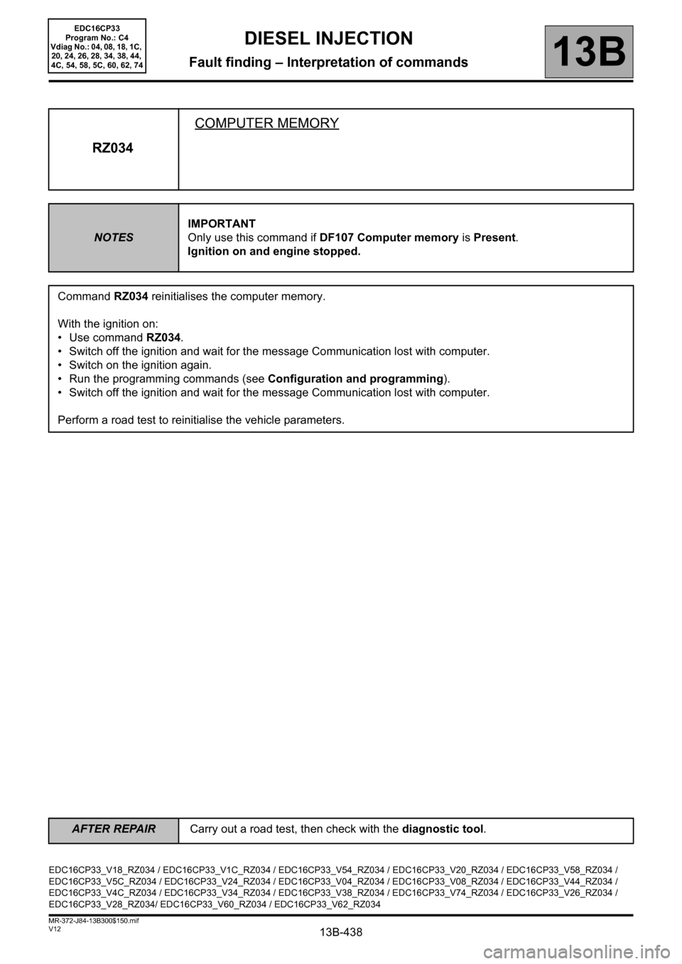 RENAULT SCENIC 2012 J95 / 3.G Engine And Peripherals EDC16CP33 Workshop Manual, Page 438