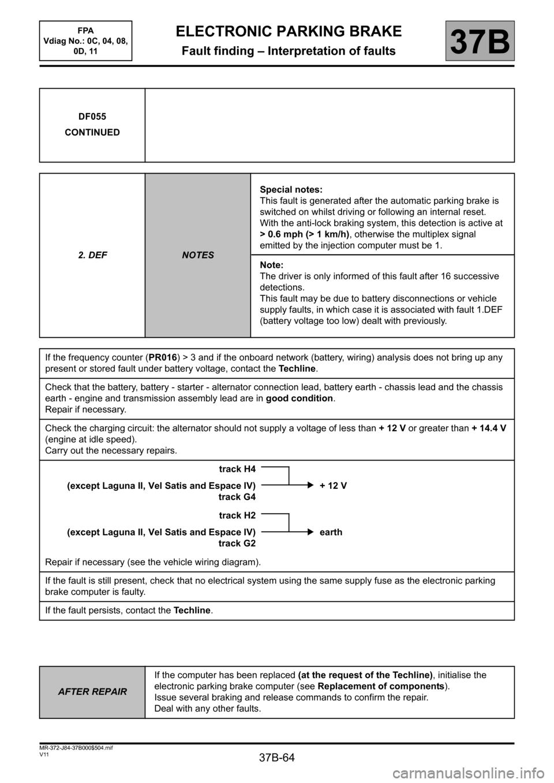 Renault Megane Handbrake Wiring Diagram: engine RENAULT SCENIC 2013 J95 /  3.G Electronic