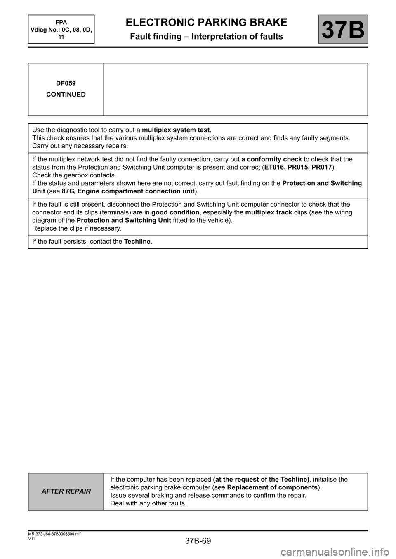Esp Renault Scenic 2013 J95 3g Electronic Parking Brake Workshop Ii Wiring Diagram Manual Page 69