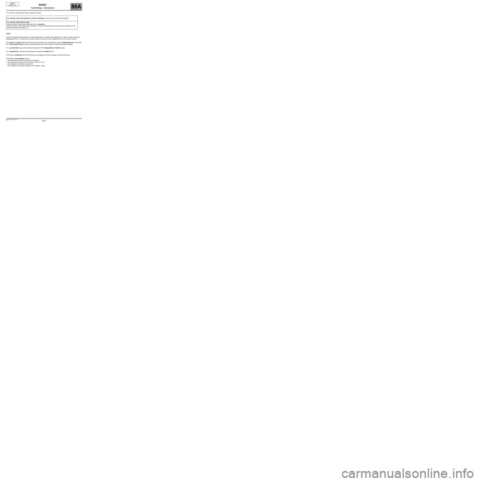 RENAULT TWINGO 2009 2.G Electrical Equipment - Radio R01-08 Workshop Manual, Page 3