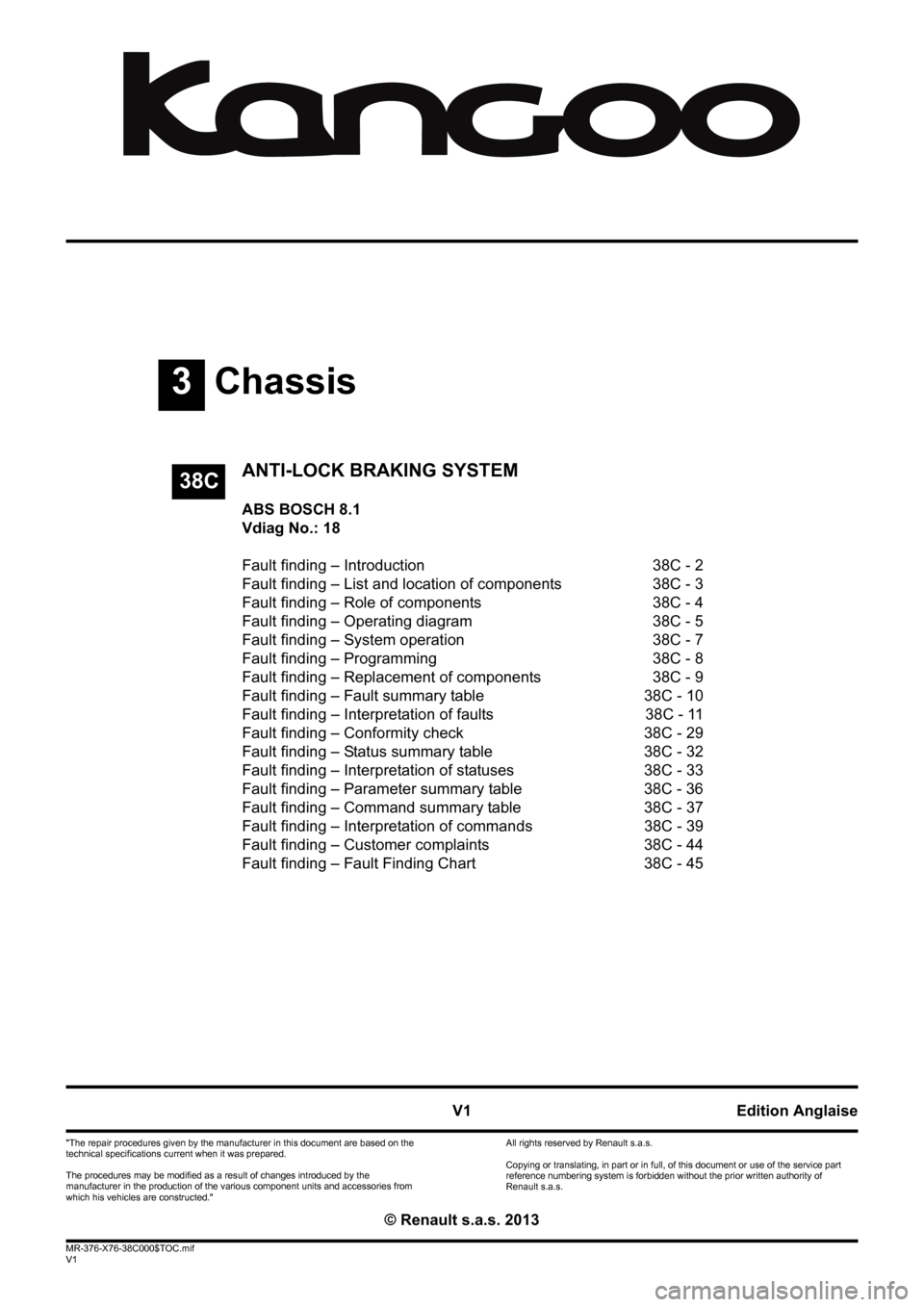 RENAULT KANGOO 2013 X61 / 2.G ABS Bosch 8.1 Workshop Manual, Page 1