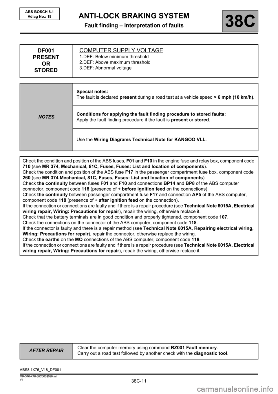 RENAULT KANGOO 2013 X61 / 2.G ABS Bosch 8.1 Workshop Manual, Page 11