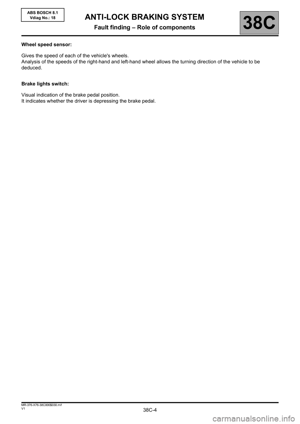 RENAULT KANGOO 2013 X61 / 2.G ABS Bosch 8.1 Workshop Manual, Page 4