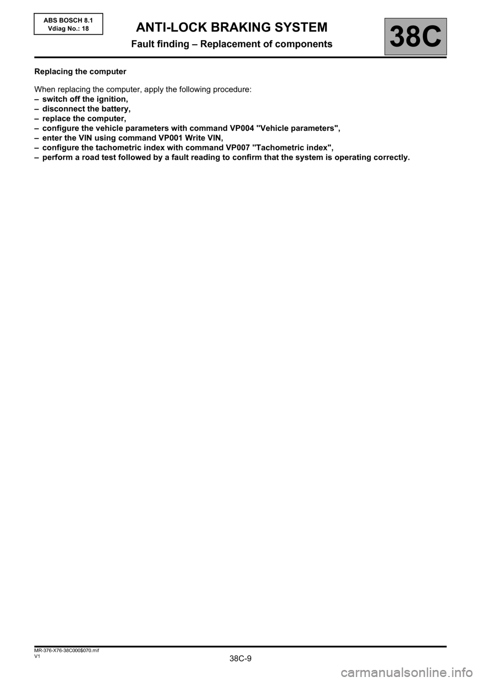 RENAULT KANGOO 2013 X61 / 2.G ABS Bosch 8.1 Workshop Manual, Page 9