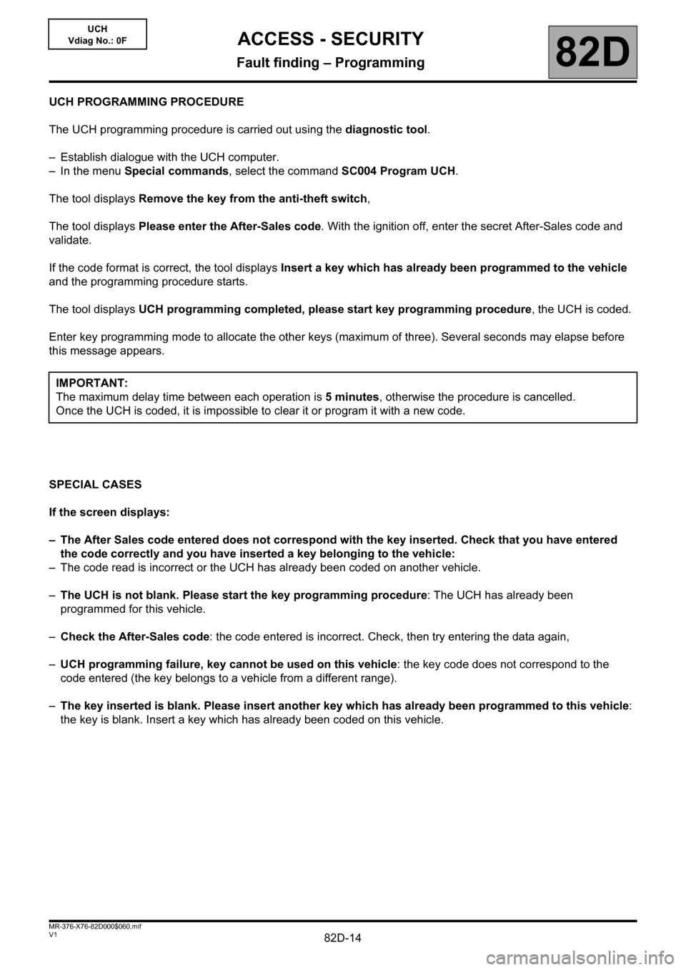 RENAULT KANGOO 2013 X61 / 2.G Access Security Workshop Manual, Page 14