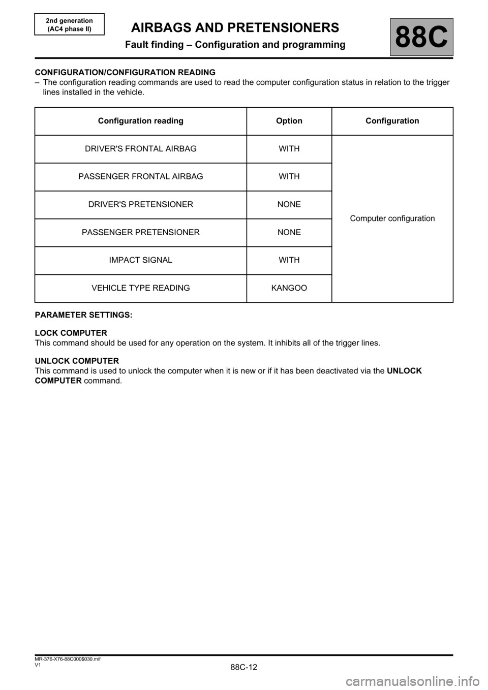 RENAULT KANGOO 2013 X61 / 2.G Air Bags AC4 And Pretensioners Workshop Manual, Page 12