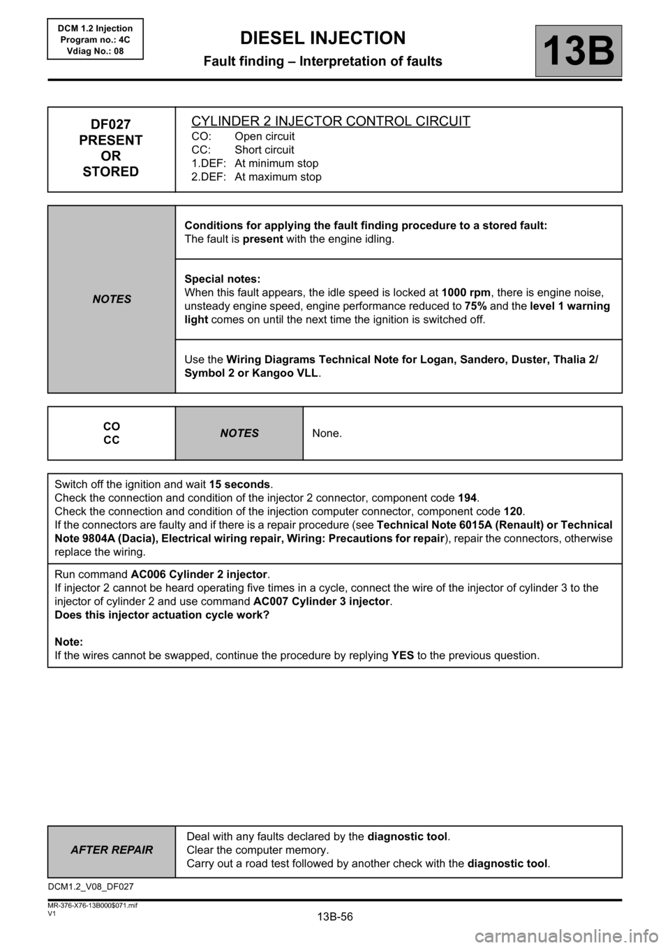 RENAULT KANGOO 2013 X61 / 2.G Diesel DCM 1.2 Injection Workshop Manual, Page 56