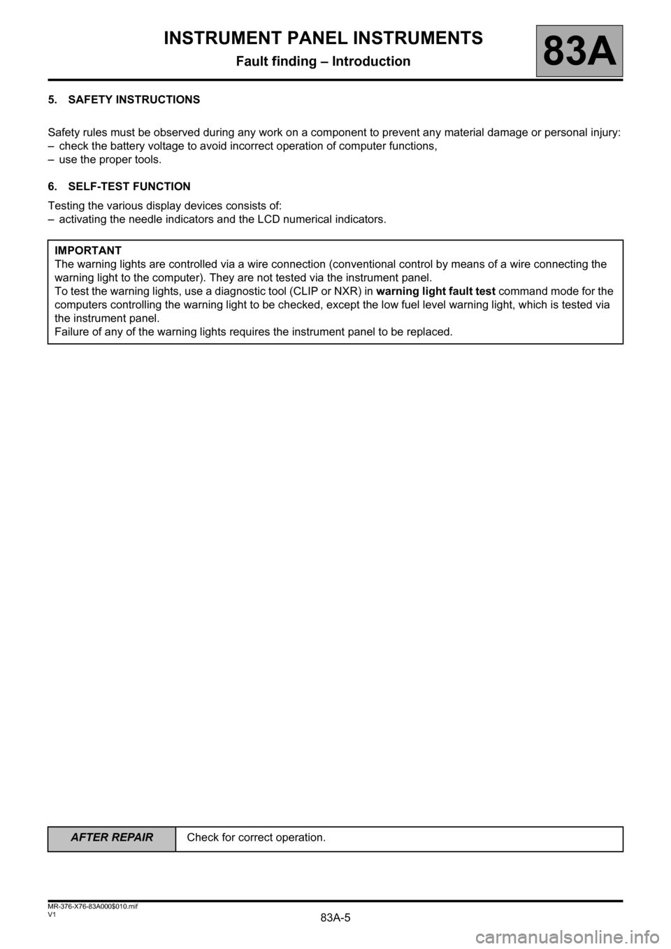 RENAULT KANGOO 2013 X61 / 2.G Instrument Panel Instruments Workshop Manual, Page 5