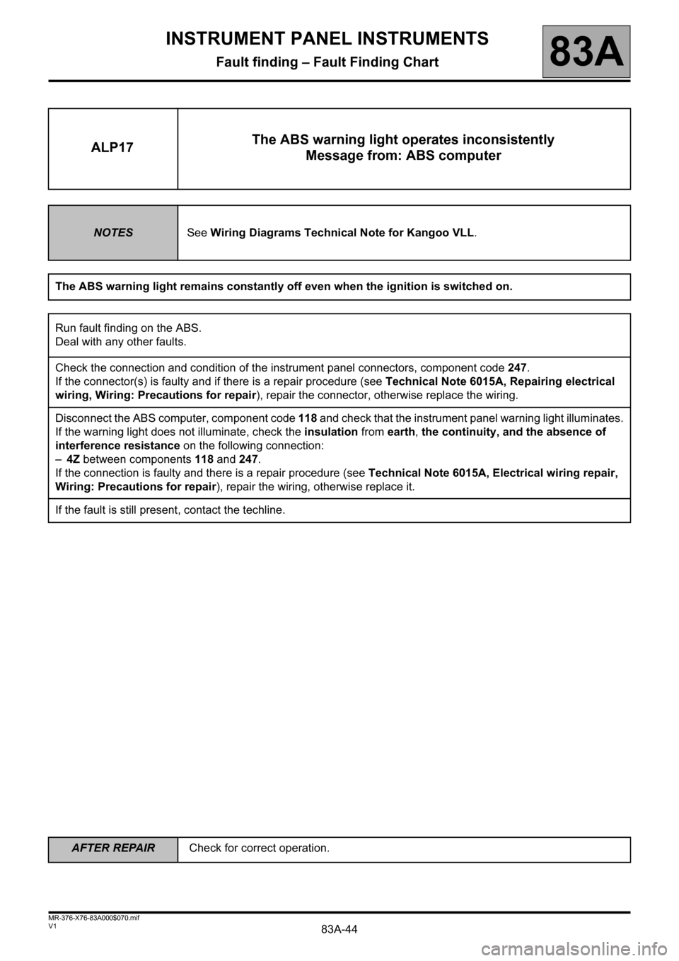 RENAULT KANGOO 2013 X61 / 2.G Instrument Panel Instruments Workshop Manual, Page 44