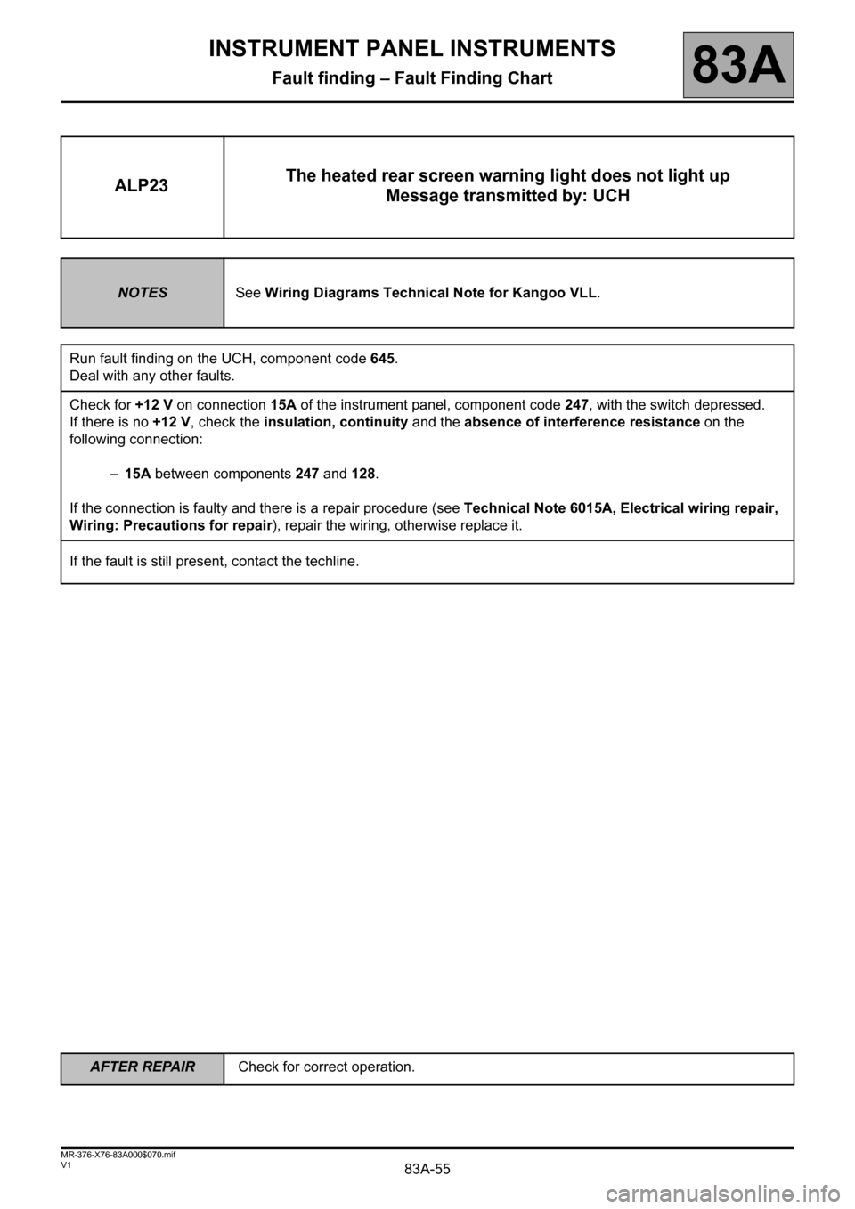 RENAULT KANGOO 2013 X61 / 2.G Instrument Panel Instruments Workshop Manual, Page 55