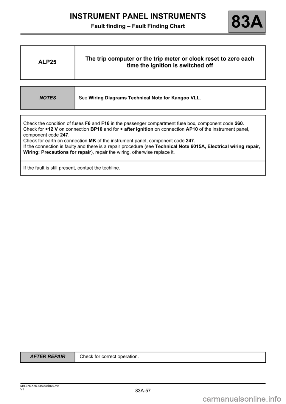 RENAULT KANGOO 2013 X61 / 2.G Instrument Panel Instruments Workshop Manual, Page 57