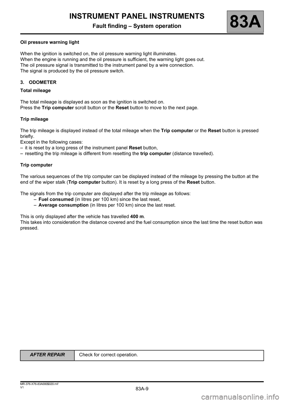 RENAULT KANGOO 2013 X61 / 2.G Instrument Panel Instruments Workshop Manual, Page 9