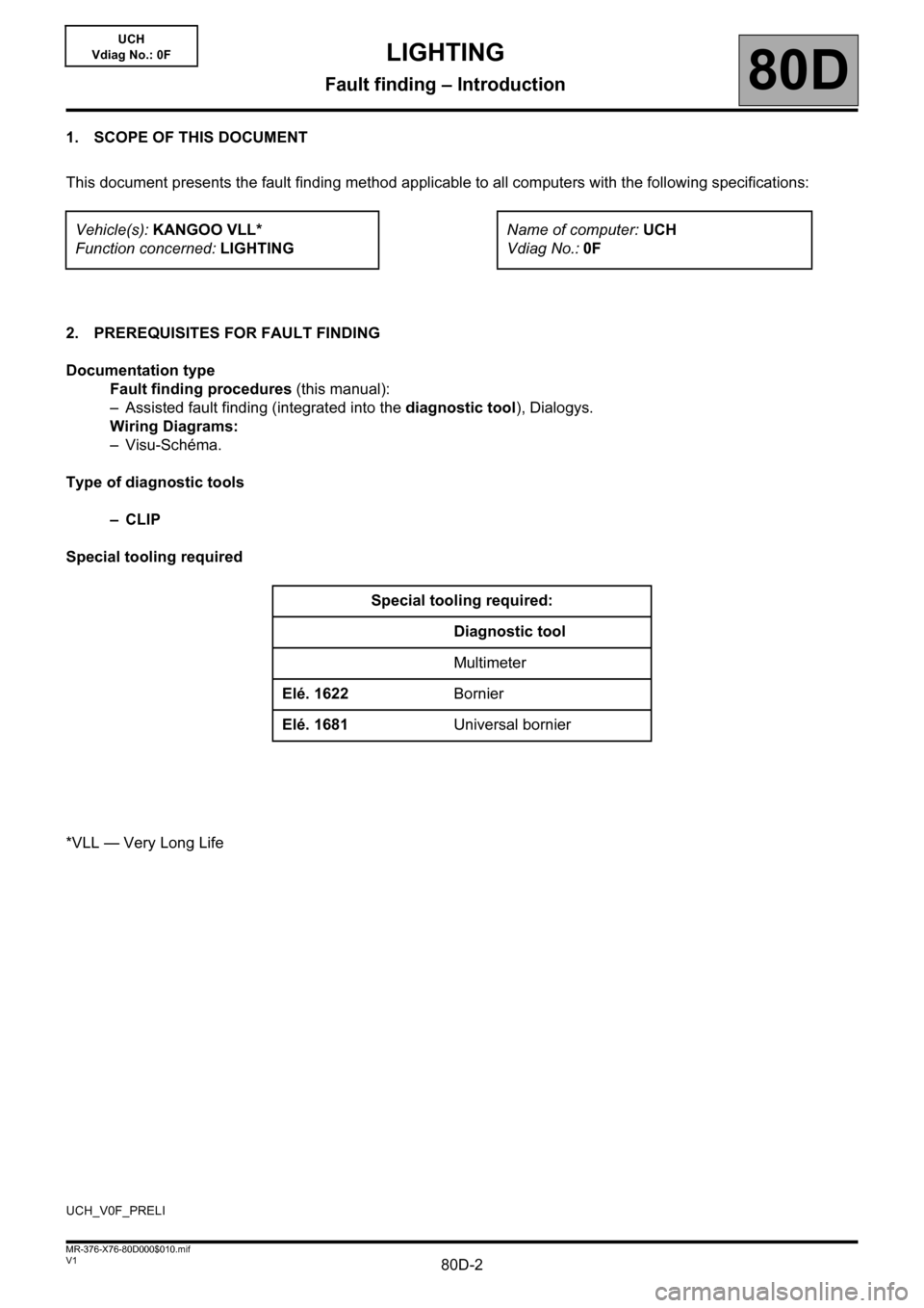 RENAULT KANGOO 2013 X61 / 2.G Lighting Workshop Manual 80D-2V1 MR-376-X76-80D000$010.mif 80D UCH Vdiag No.: 0F 1. SCOPE OF THIS DOCUMENT This document presents the fault finding method applicable to all computers with the following specifications: 2. PRER