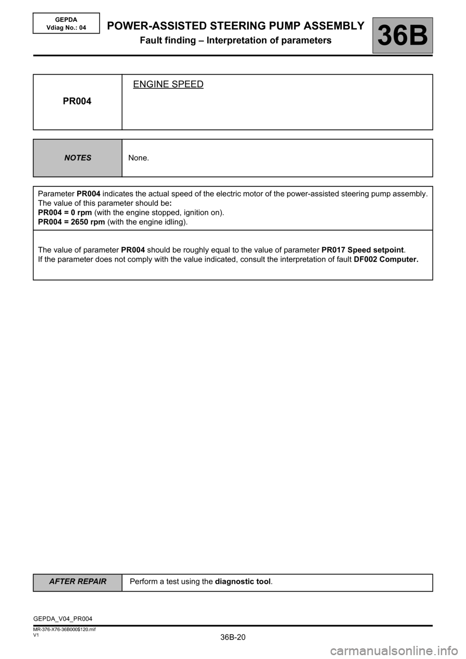 RENAULT KANGOO 2013 X61 / 2.G Power Steering Pump Assembly Workshop Manual, Page 20