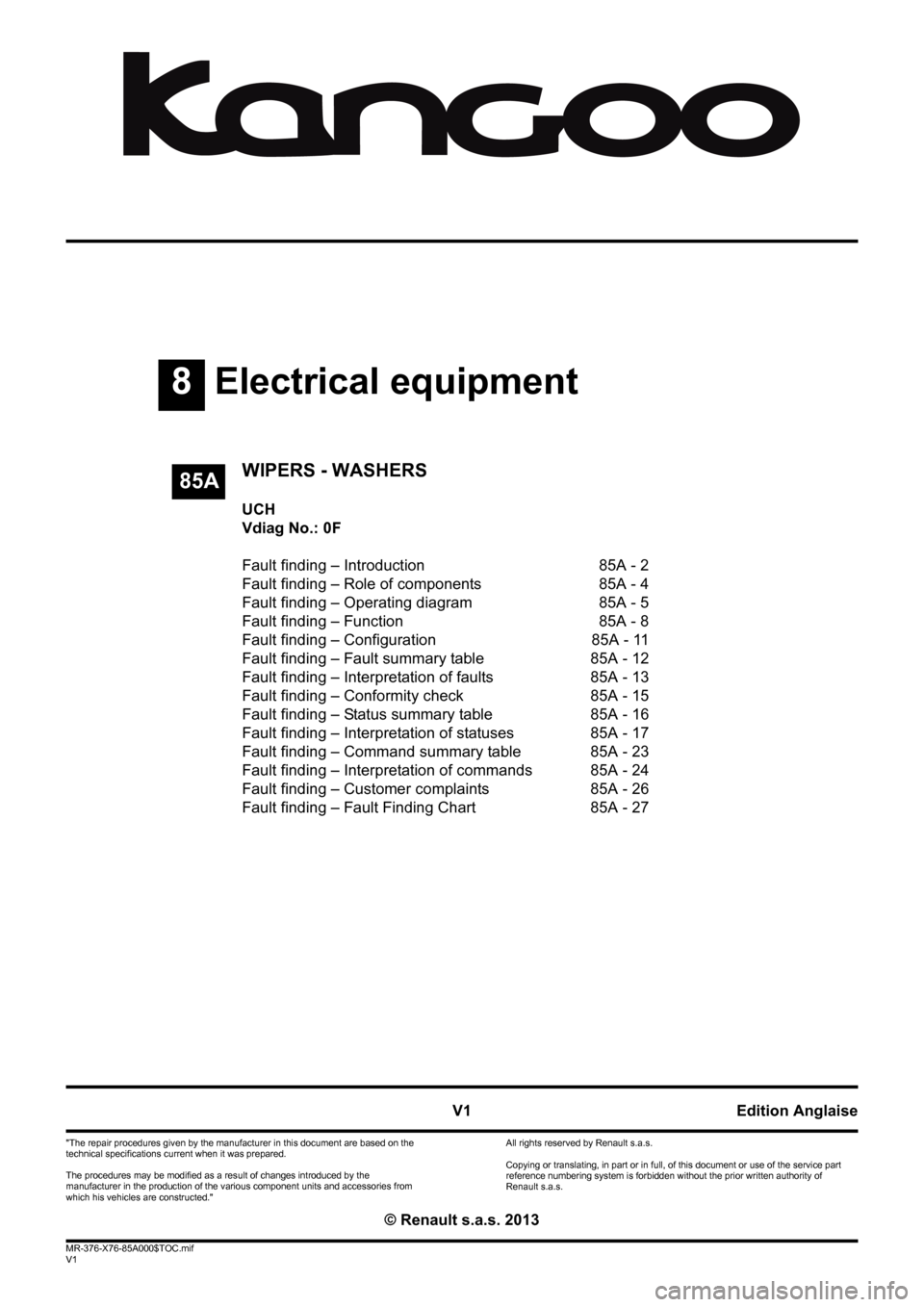 Renault Kangoo 2013 X61 2g Wipers And Washers Workshop Manual Wiring Diagrams Online