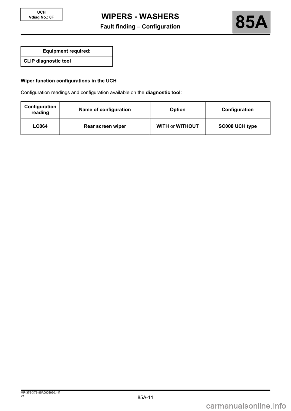 RENAULT KANGOO 2013 X61 / 2.G Wipers And Washers Workshop Manual, Page 11
