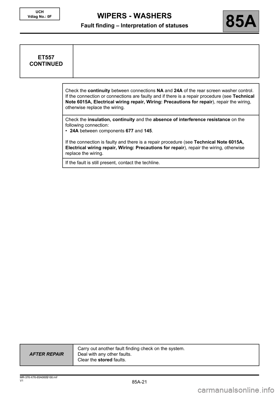 RENAULT KANGOO 2013 X61 / 2.G Wipers And Washers Workshop Manual, Page 21